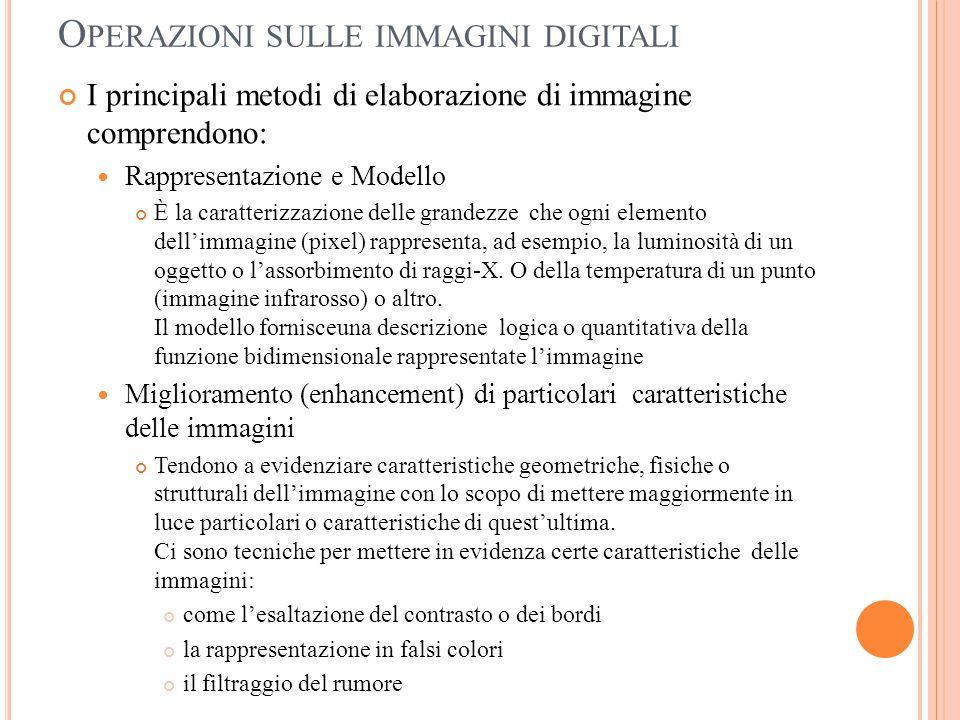 O PERAZIONI SULLE IMMAGINI DIGITALI I principali metodi di elaborazione di immagine comprendono: Rappresentazione e Modello È la caratterizzazione del
