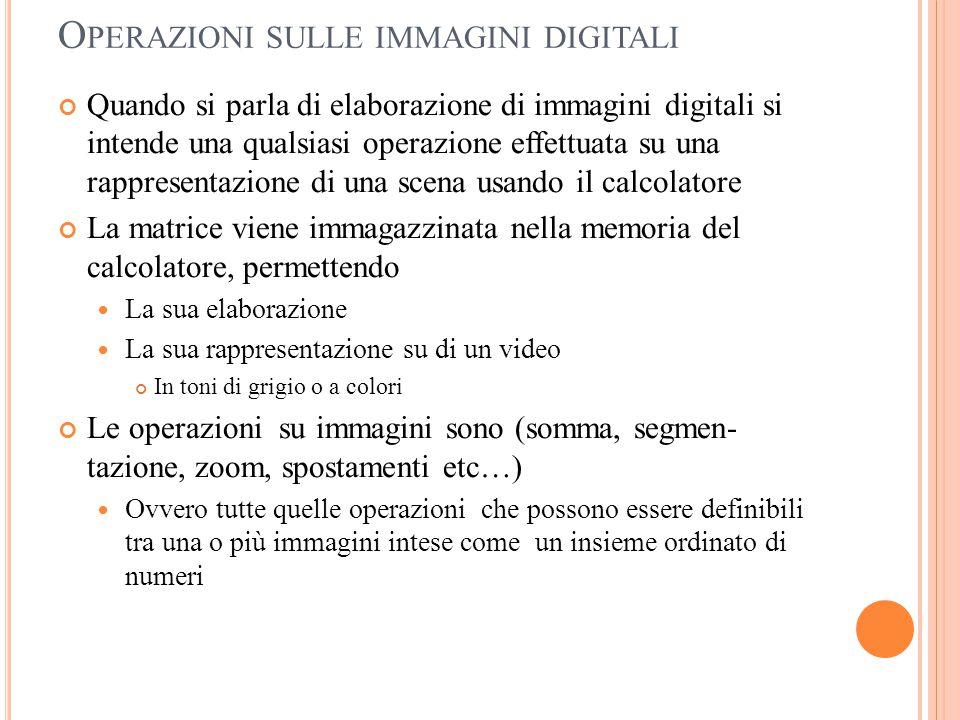 O PERAZIONI SULLE IMMAGINI DIGITALI Quando si parla di elaborazione di immagini digitali si intende una qualsiasi operazione effettuata su una rappres
