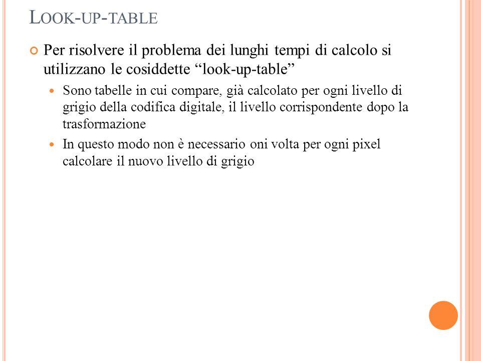 """L OOK - UP - TABLE Per risolvere il problema dei lunghi tempi di calcolo si utilizzano le cosiddette """"look-up-table"""" Sono tabelle in cui compare, già"""