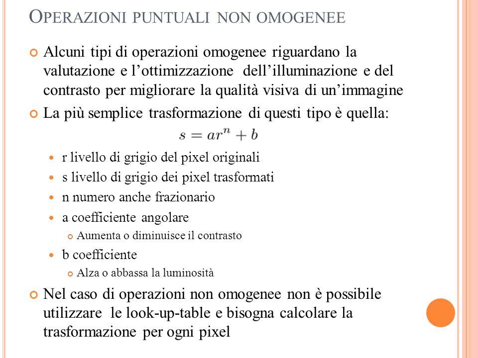 O PERAZIONI PUNTUALI NON OMOGENEE Alcuni tipi di operazioni omogenee riguardano la valutazione e l'ottimizzazione dell'illuminazione e del contrasto p