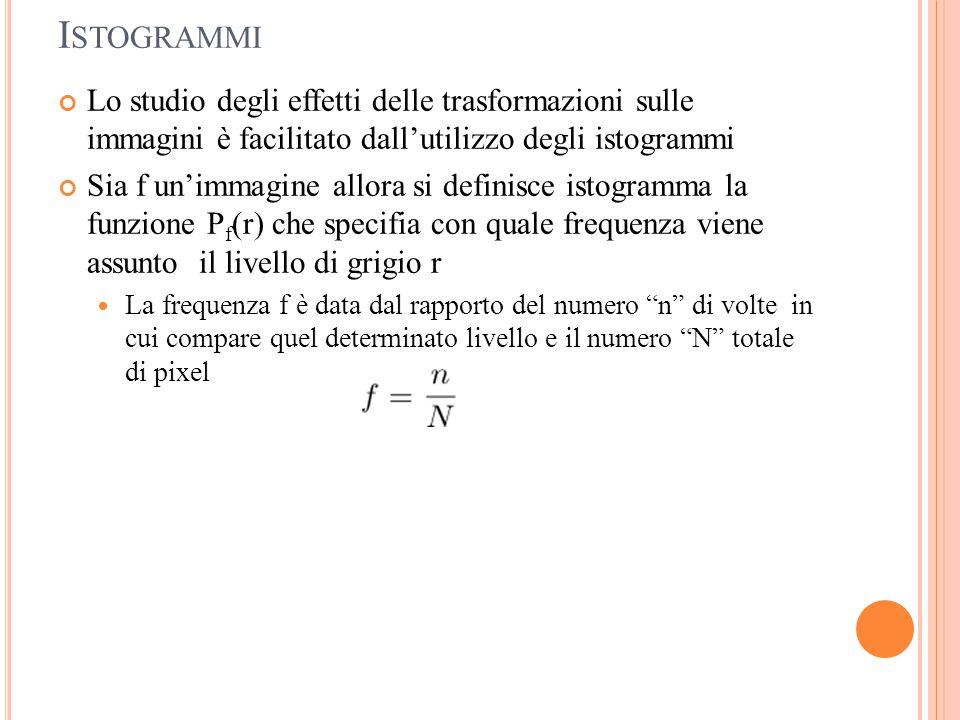 I STOGRAMMI Lo studio degli effetti delle trasformazioni sulle immagini è facilitato dall'utilizzo degli istogrammi Sia f un'immagine allora si defini