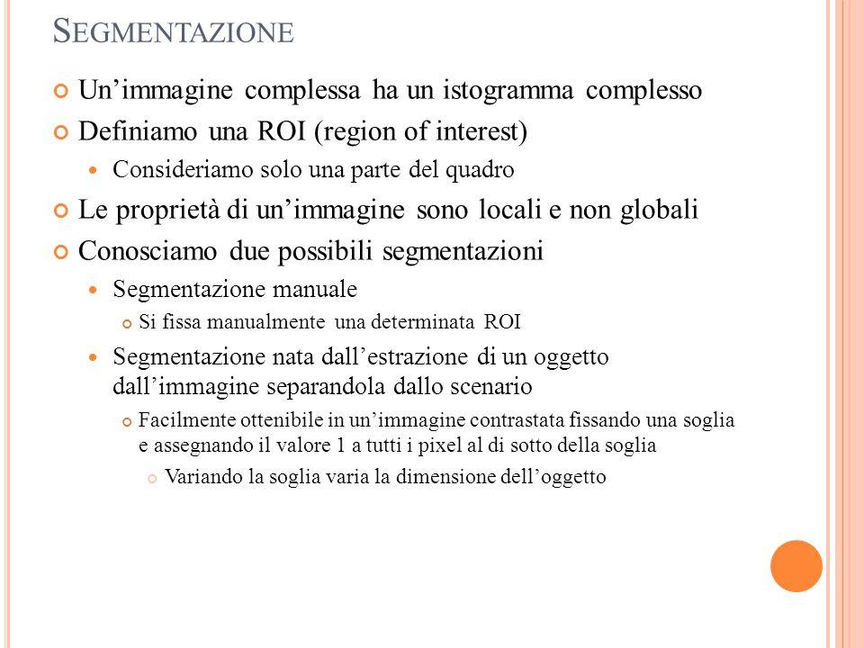 S EGMENTAZIONE Un'immagine complessa ha un istogramma complesso Definiamo una ROI (region of interest) Consideriamo solo una parte del quadro Le propr