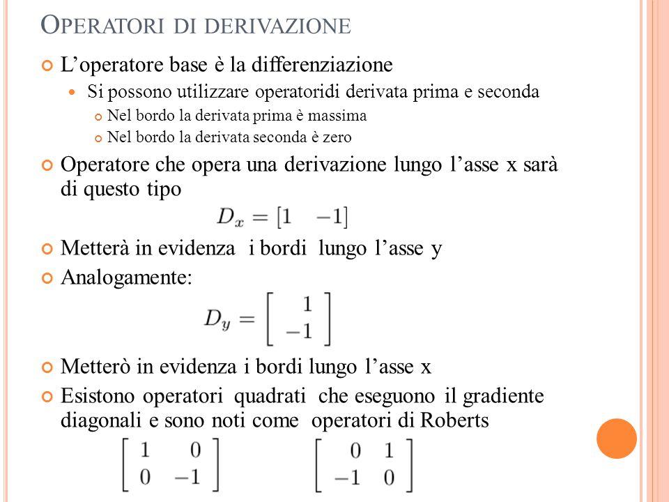 O PERATORI DI DERIVAZIONE L'operatore base è la differenziazione Si possono utilizzare operatoridi derivata prima e seconda Nel bordo la derivata prim