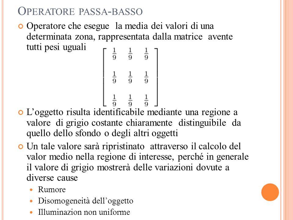O PERATORE PASSA - BASSO Operatore che esegue la media dei valori di una determinata zona, rappresentata dalla matrice avente tutti pesi uguali L'ogge