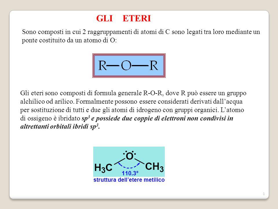 1 GLI ETERI Sono composti in cui 2 raggruppamenti di atomi di C sono legati tra loro mediante un ponte costituito da un atomo di O: Gli eteri sono com