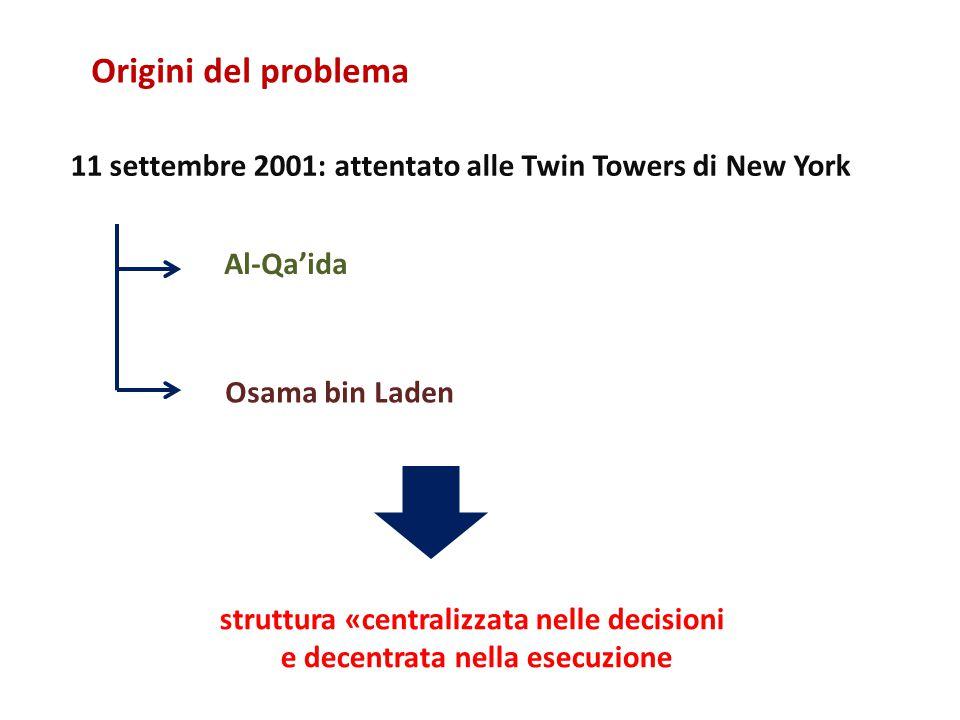 Al-Qa'ida Osama bin Laden 11 settembre 2001: attentato alle Twin Towers di New York struttura «centralizzata nelle decisioni e decentrata nella esecuzione Origini del problema