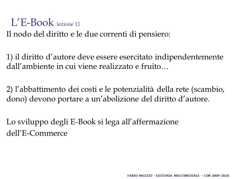 L'E-Book lezione 11 Il nodo del diritto e le due correnti di pensiero: 1) il diritto d'autore deve essere esercitato indipendentemente dall'ambiente i