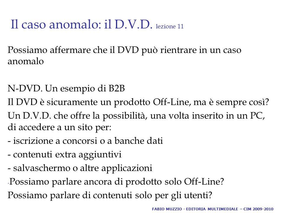 Il caso anomalo: il D.V.D. lezione 11 Possiamo affermare che il DVD può rientrare in un caso anomalo N-DVD. Un esempio di B2B Il DVD è sicuramente un