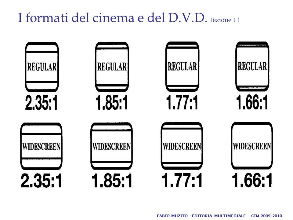 I formati del cinema e del D.V.D. lezione 11 FABIO MUZZIO - EDITORIA MULTIMEDIALE – CIM 2009-2010