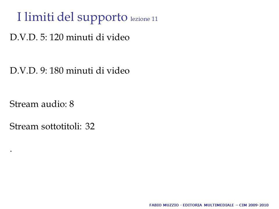 I limiti del supporto lezione 11 D.V.D. 5: 120 minuti di video D.V.D. 9: 180 minuti di video Stream audio: 8 Stream sottotitoli: 32. FABIO MUZZIO - ED