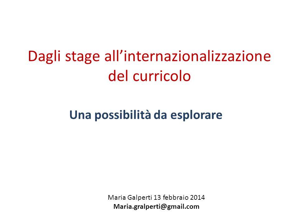 Dagli stage all'internazionalizzazione del curricolo Una possibilità da esplorare Maria Galperti 13 febbraio 2014 Maria.gralperti@gmail.com