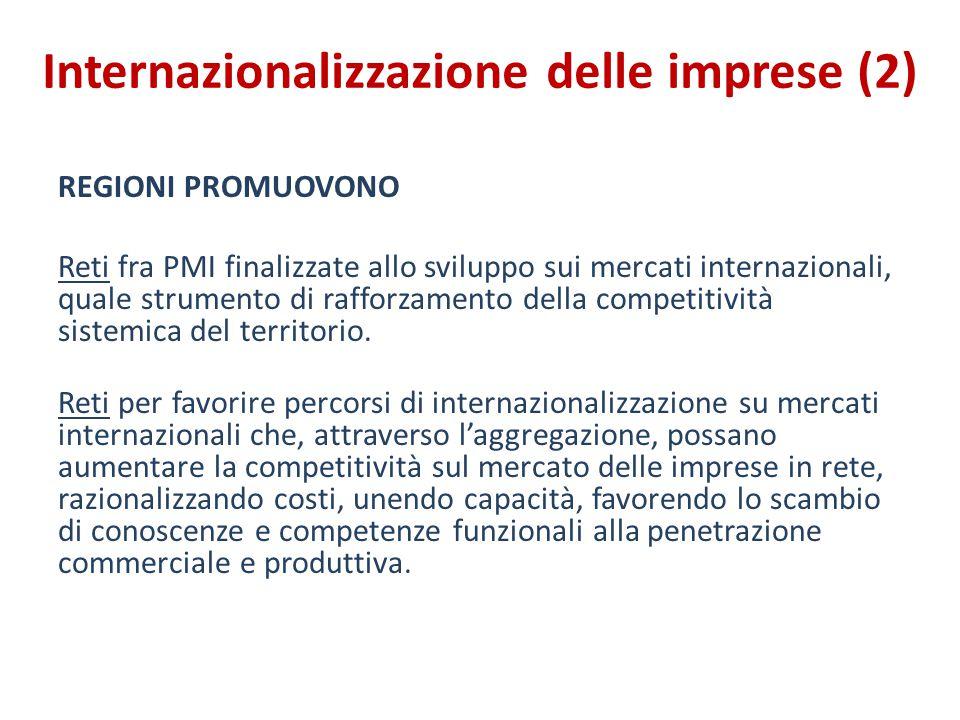 Internazionalizzazione delle imprese (2) REGIONI PROMUOVONO Reti fra PMI finalizzate allo sviluppo sui mercati internazionali, quale strumento di rafforzamento della competitività sistemica del territorio.