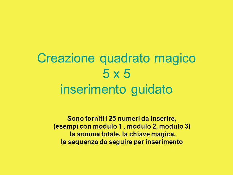 Creazione quadrato magico 5 x 5 inserimento guidato Sono forniti i 25 numeri da inserire, (esempi con modulo 1, modulo 2, modulo 3) la somma totale, l