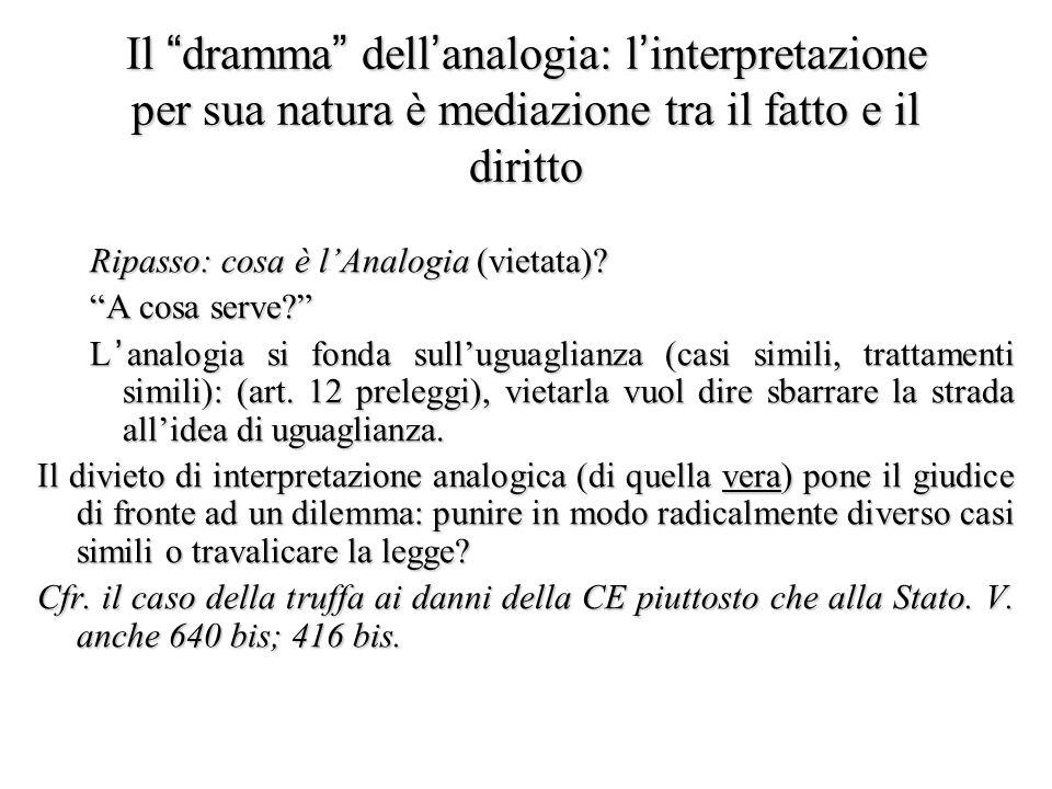 """Il """"dramma"""" dell'analogia: l'interpretazione per sua natura è mediazione tra il fatto e il diritto Ripasso: cosa è l'Analogia (vietata)? """"A cosa serve"""