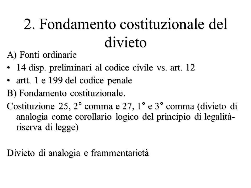 2. Fondamento costituzionale del divieto A) Fonti ordinarie 14 disp. preliminari al codice civile vs. art. 1214 disp. preliminari al codice civile vs.