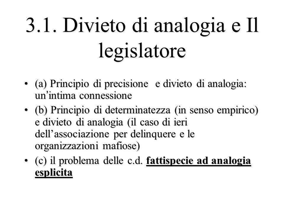 3.1. Divieto di analogia e Il legislatore (a) Principio di precisione e divieto di analogia: un'intima connessione(a) Principio di precisione e diviet