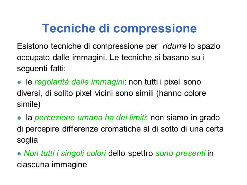 Tecniche di compressione Esistono tecniche di compressione per ridurre lo spazio occupato dalle immagini. Le tecniche si basano su i seguenti fatti: l