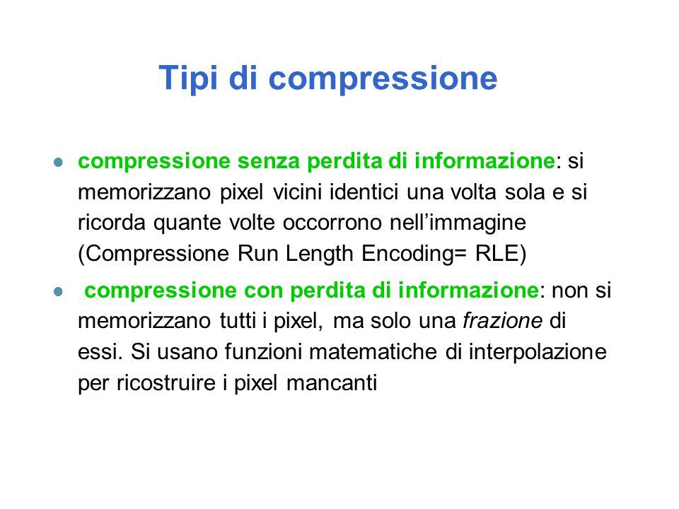 Tipi di compressione l compressione senza perdita di informazione: si memorizzano pixel vicini identici una volta sola e si ricorda quante volte occor