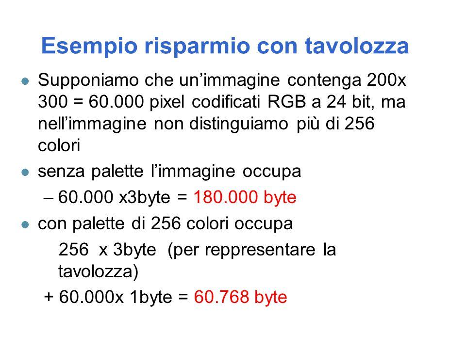 Esempio risparmio con tavolozza l Supponiamo che un'immagine contenga 200x 300 = 60.000 pixel codificati RGB a 24 bit, ma nell'immagine non distinguia