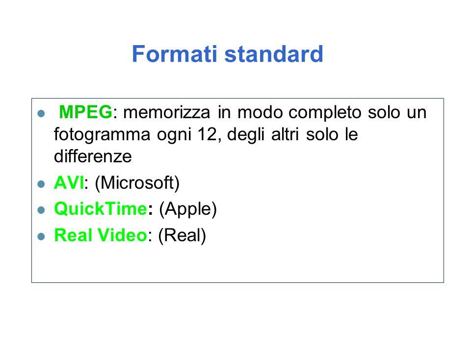 Formati standard l MPEG: memorizza in modo completo solo un fotogramma ogni 12, degli altri solo le differenze l AVI: (Microsoft) l QuickTime: (Apple)