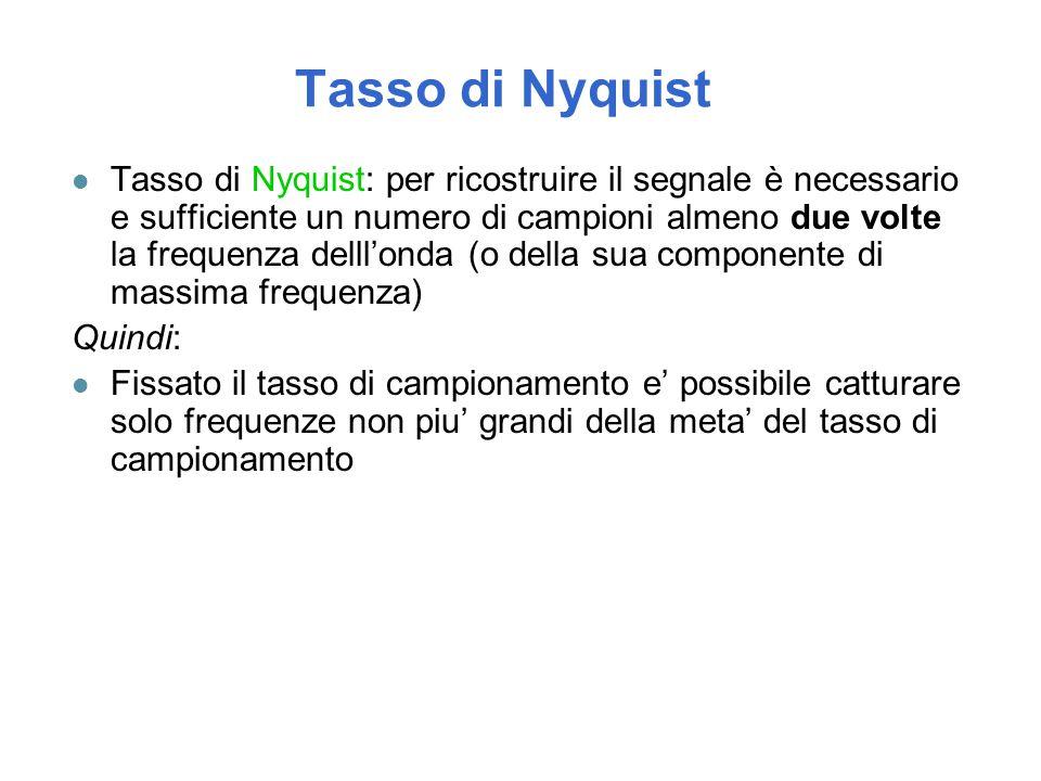Tasso di Nyquist l Tasso di Nyquist: per ricostruire il segnale è necessario e sufficiente un numero di campioni almeno due volte la frequenza delll'o