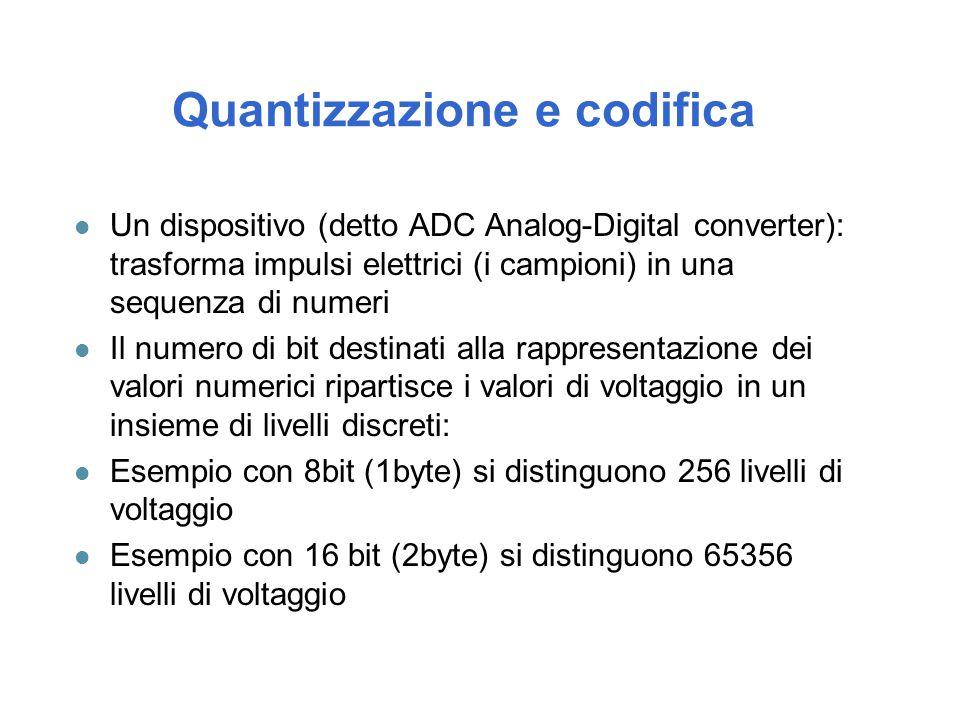 Quantizzazione e codifica l Un dispositivo (detto ADC Analog-Digital converter): trasforma impulsi elettrici (i campioni) in una sequenza di numeri l