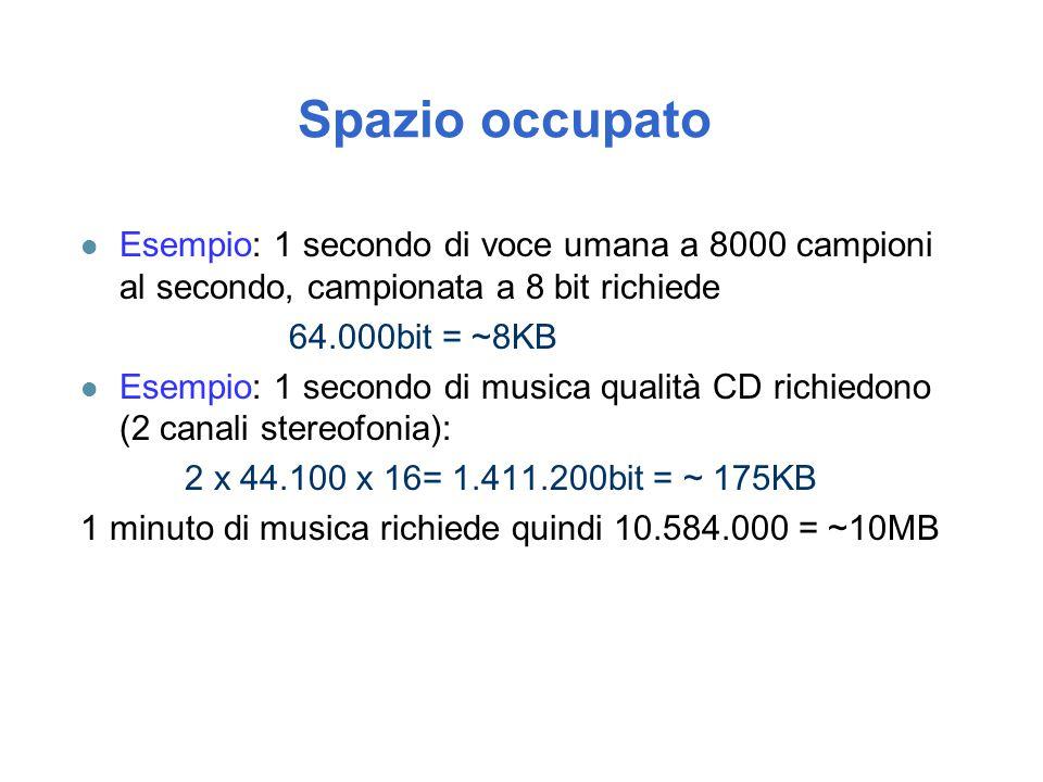 Spazio occupato l Esempio: 1 secondo di voce umana a 8000 campioni al secondo, campionata a 8 bit richiede 64.000bit = ~8KB l Esempio: 1 secondo di mu