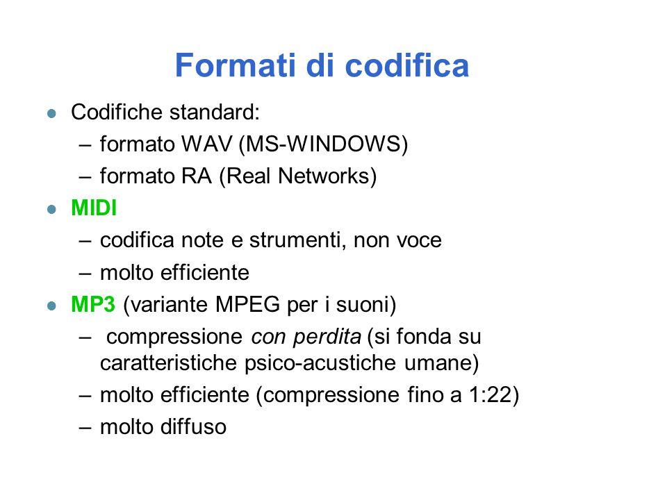 Formati di codifica l Codifiche standard: –formato WAV (MS-WINDOWS) –formato RA (Real Networks) l MIDI –codifica note e strumenti, non voce –molto eff