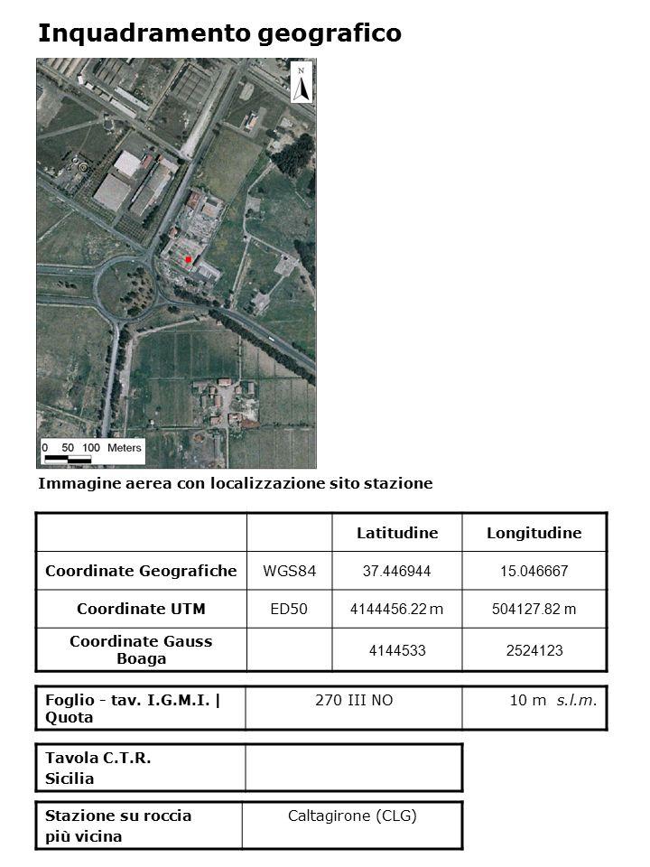 Immagine aerea con localizzazione sito stazione Foglio - tav. I.G.M.I. | Quota 270 III NO10 m s.l.m. Inquadramento geografico LatitudineLongitudine Co
