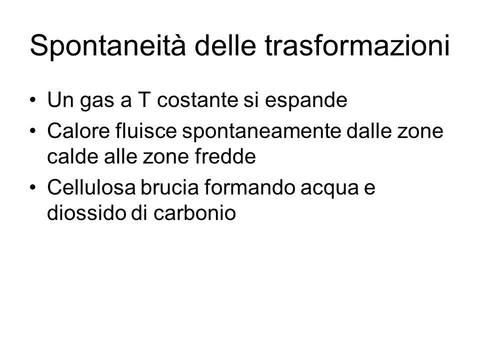 Spontaneità delle trasformazioni Un gas a T costante si espande Calore fluisce spontaneamente dalle zone calde alle zone fredde Cellulosa brucia forma