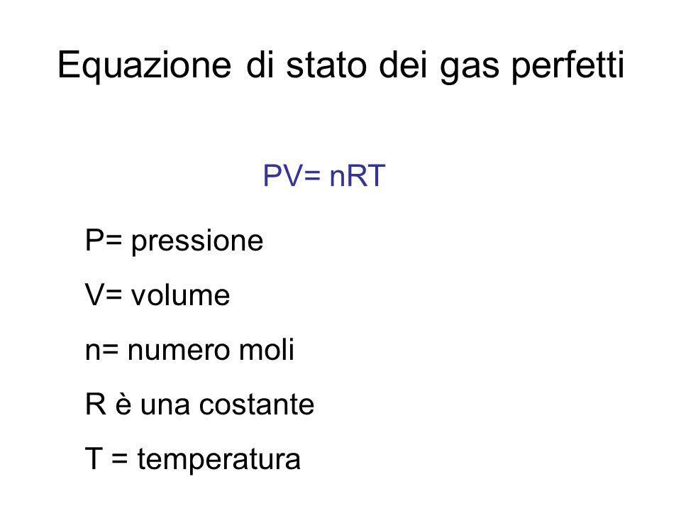 Equazione di stato dei gas perfetti PV= nRT P= pressione V= volume n= numero moli R è una costante T = temperatura