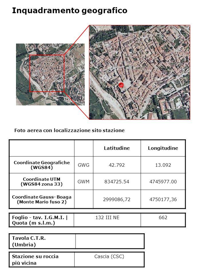 Foto aerea con localizzazione sito stazione LatitudineLongitudine Coordinate Geografiche (WGS84) GWG42.79213.092 Coordinate UTM (WGS84 zona 33) GWM834725.544745977.00 Coordinate Gauss- Boaga (Monte Mario fuso 2) 2999086,724750177,36 Foglio - tav.