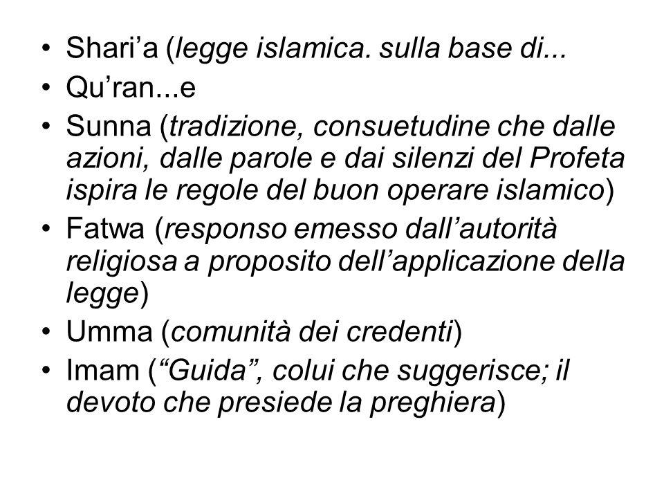 Shari'a (legge islamica. sulla base di...