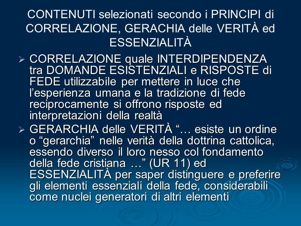 CONTENUTI selezionati secondo i PRINCIPI di CORRELAZIONE, GERACHIA delle VERITÀ ed ESSENZIALITÀ  CORRELAZIONE quale INTERDIPENDENZA tra DOMANDE ESIST