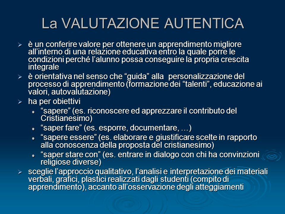 La VALUTAZIONE AUTENTICA  è un conferire valore per ottenere un apprendimento migliore all'interno di una relazione educativa entro la quale porre le