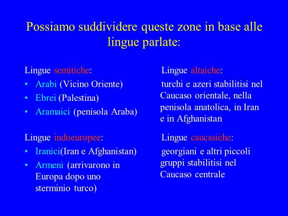 Possiamo suddividere queste zone in base alle lingue parlate: Lingue semitiche: Arabi (Vicino Oriente) Ebrei (Palestina) Aramaici (penisola Araba) Lin