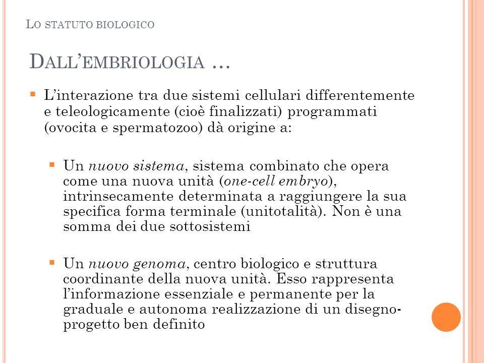 D ALL ' EMBRIOLOGIA …  L'interazione tra due sistemi cellulari differentemente e teleologicamente (cioè finalizzati) programmati (ovocita e spermatoz