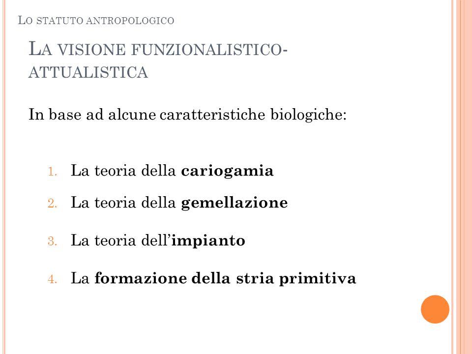 L A VISIONE FUNZIONALISTICO - ATTUALISTICA In base ad alcune caratteristiche biologiche: 1. La teoria della cariogamia 2. La teoria della gemellazione