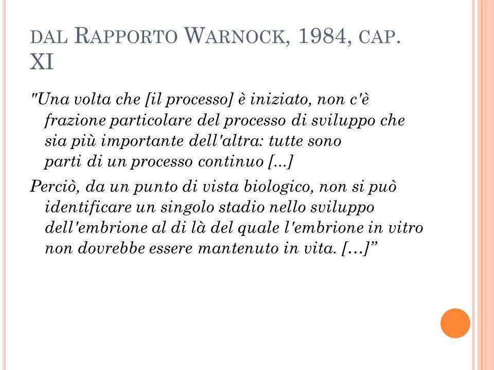 DAL R APPORTO W ARNOCK, 1984, CAP. XI