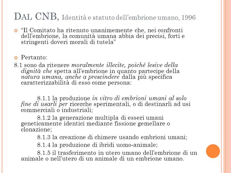 """D AL CNB, Identità e statuto dell'embrione umano, 1996 """"Il Comitato ha ritenuto unanimemente che, nei confronti dell'embrione, la comunità umana abbia"""