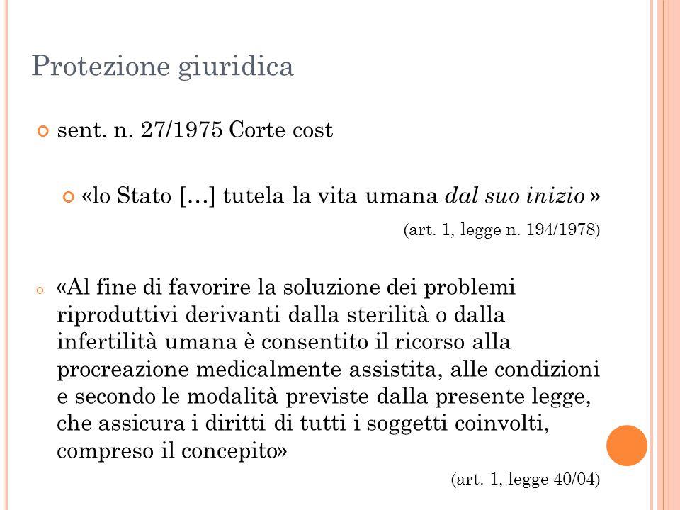 Protezione giuridica sent. n. 27/1975 Corte cost «lo Stato […] tutela la vita umana dal suo inizio » (art. 1, legge n. 194/1978) o «Al fine di favorir