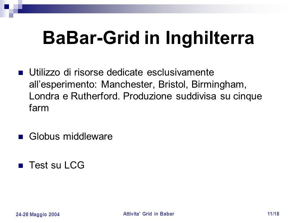 24-28 Maggio 2004 Attivita Grid in Babar11/18 BaBar-Grid in Inghilterra Utilizzo di risorse dedicate esclusivamente all'esperimento: Manchester, Bristol, Birmingham, Londra e Rutherford.