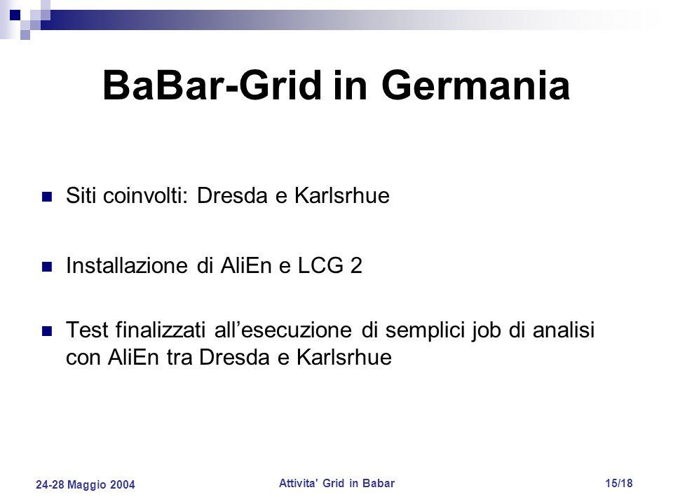 24-28 Maggio 2004 Attivita Grid in Babar15/18 BaBar-Grid in Germania Siti coinvolti: Dresda e Karlsrhue Installazione di AliEn e LCG 2 Test finalizzati all'esecuzione di semplici job di analisi con AliEn tra Dresda e Karlsrhue