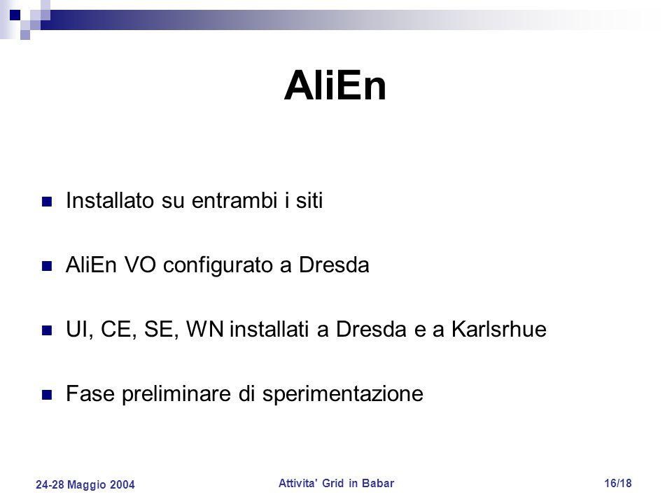 24-28 Maggio 2004 Attivita Grid in Babar16/18 AliEn Installato su entrambi i siti AliEn VO configurato a Dresda UI, CE, SE, WN installati a Dresda e a Karlsrhue Fase preliminare di sperimentazione