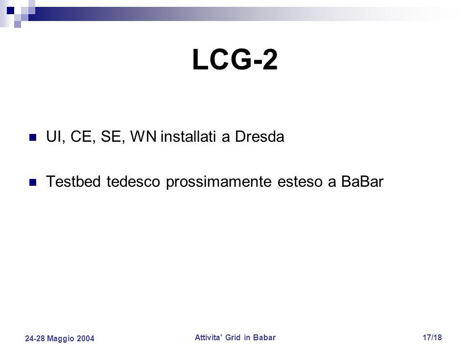 24-28 Maggio 2004 Attivita Grid in Babar17/18 LCG-2 UI, CE, SE, WN installati a Dresda Testbed tedesco prossimamente esteso a BaBar