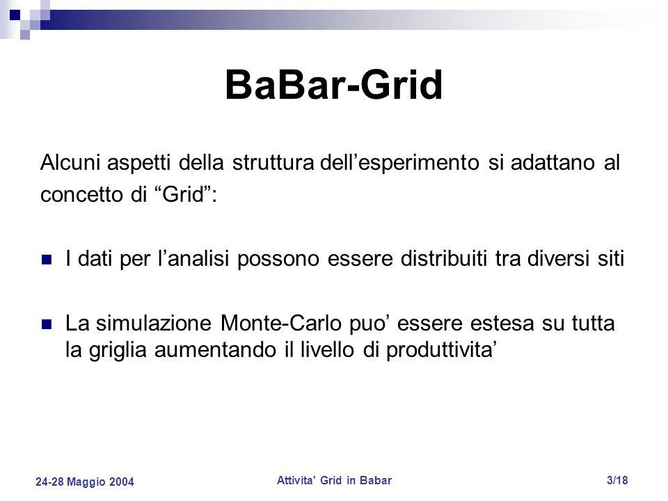 24-28 Maggio 2004 Attivita Grid in Babar3/18 BaBar-Grid Alcuni aspetti della struttura dell'esperimento si adattano al concetto di Grid : I dati per l'analisi possono essere distribuiti tra diversi siti La simulazione Monte-Carlo puo' essere estesa su tutta la griglia aumentando il livello di produttivita'