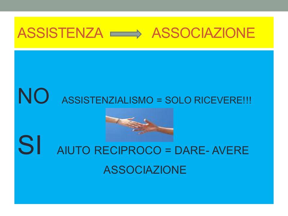ASSISTENZA ASSOCIAZIONE NO ASSISTENZIALISMO = SOLO RICEVERE!!! SI AIUTO RECIPROCO = DARE- AVERE ASSOCIAZIONE