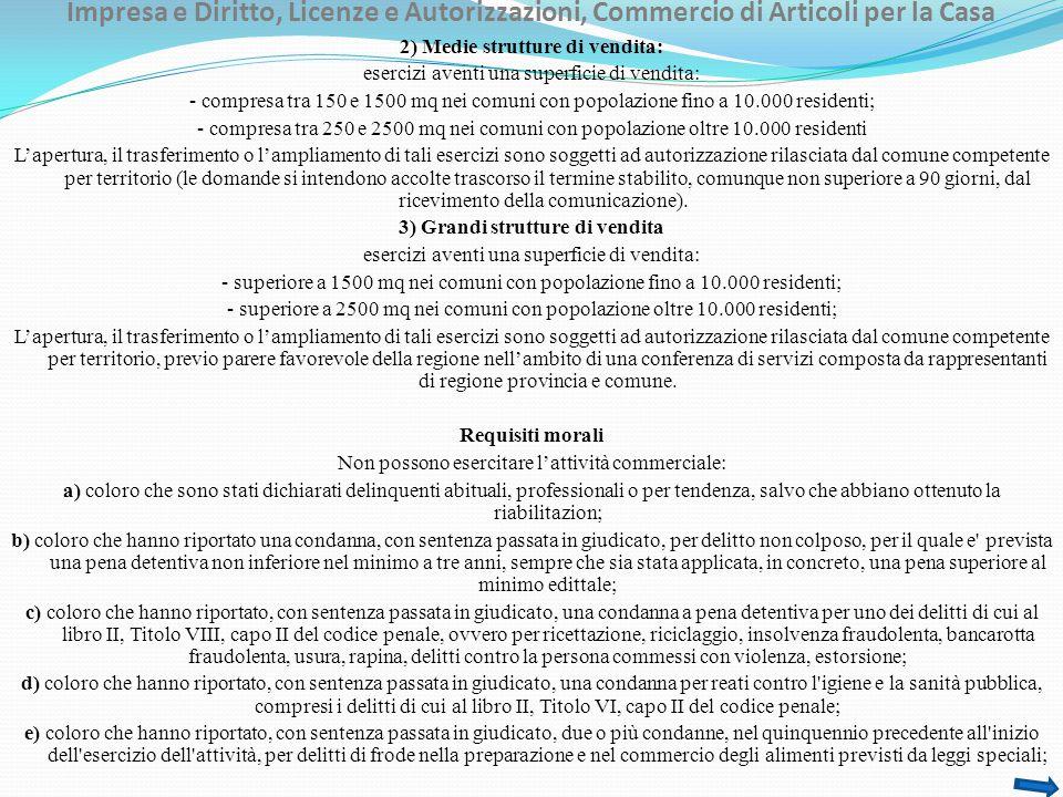 Impresa e Diritto, Licenze e Autorizzazioni, Commercio di Articoli per la Casa f) coloro che sono sottoposti a una delle misure di prevenzione di cui alla legge 27 dicembre 1956, n.