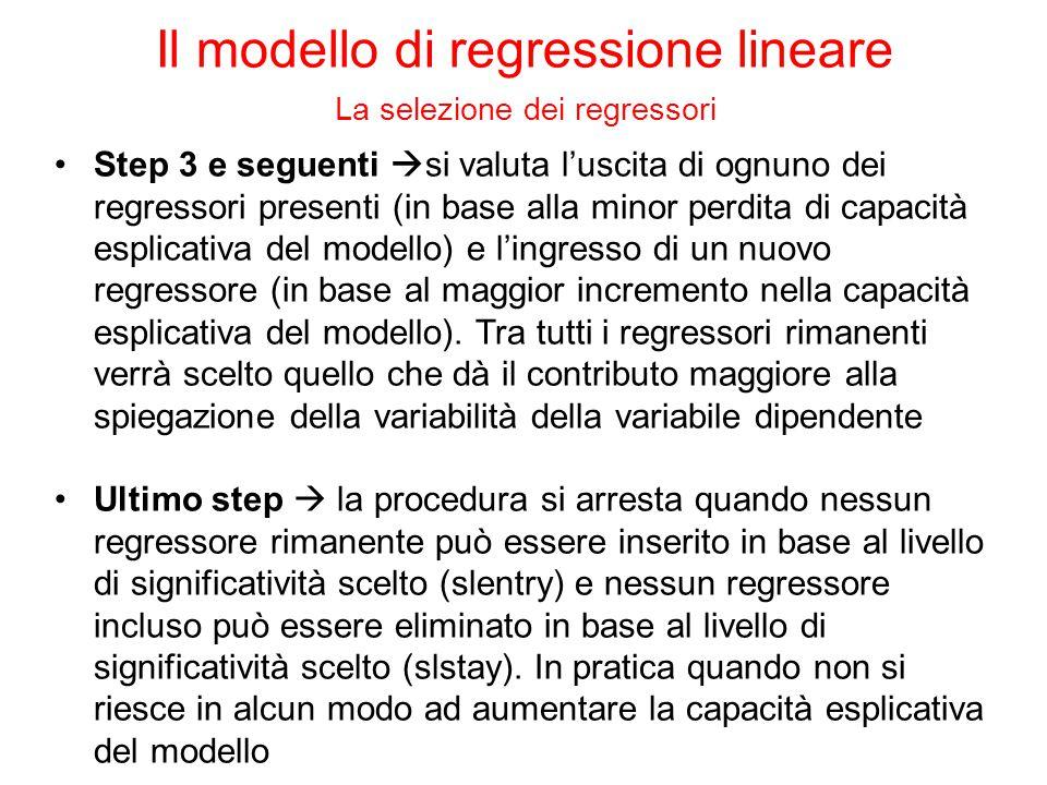 Step 3 e seguenti  si valuta l'uscita di ognuno dei regressori presenti (in base alla minor perdita di capacità esplicativa del modello) e l'ingresso di un nuovo regressore (in base al maggior incremento nella capacità esplicativa del modello).