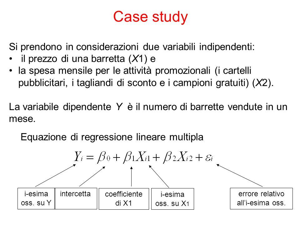 Case study Si prendono in considerazioni due variabili indipendenti: il prezzo di una barretta (X1) e la spesa mensile per le attività promozionali (i cartelli pubblicitari, i tagliandi di sconto e i campioni gratuiti) (X2).